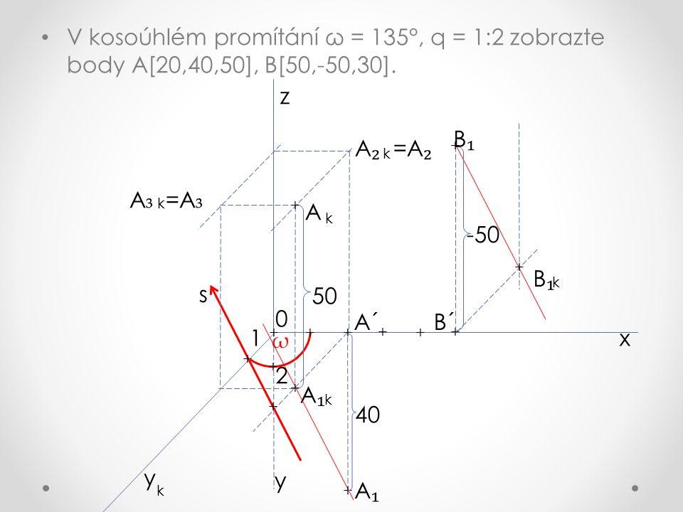V kosoúhlém promítání ω = 135°, q = 1:2 zobrazte body A[20,40,50], B[50,-50,30].